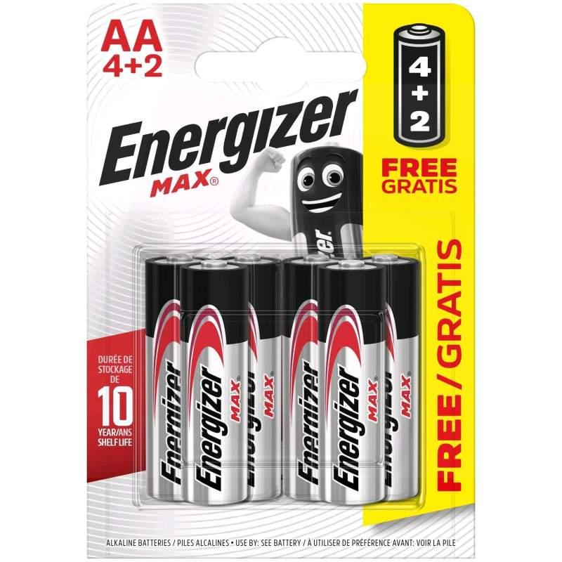 Energizer Alcaline Max AA / LR6 par 4+2 gratuites