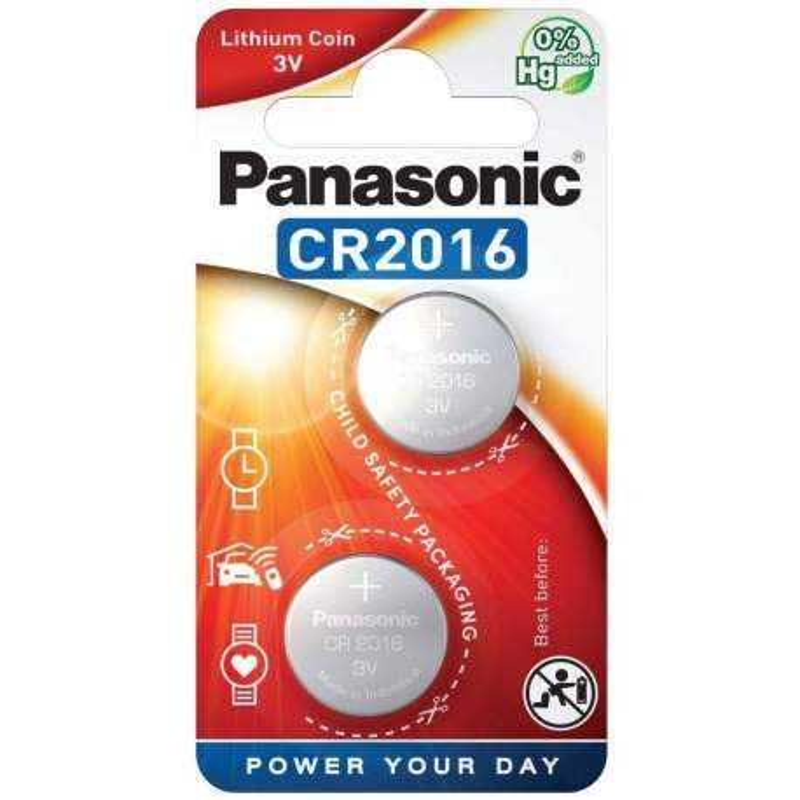 2 Piles CR2016 Panasonic Bouton Lithium 3V