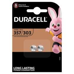 2 Piles 357 / 303 / SR44 Duracell Oxyde d'Argent 1,5V