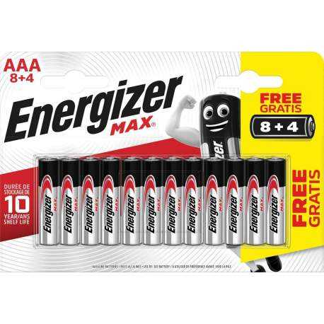 8+4 Piles Alcalines AAA / LR03 Energizer Max