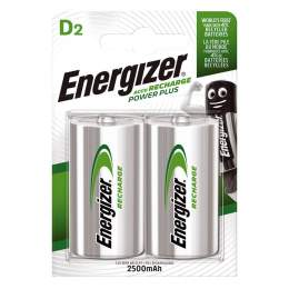 2 Piles Rechargeables D / HR20 2500mAh Energizer Power Plus