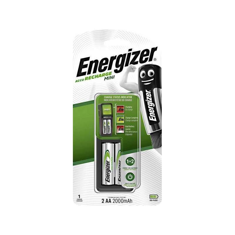 Energizer Chargeur Mini avec 2 piles AA 2000mAh