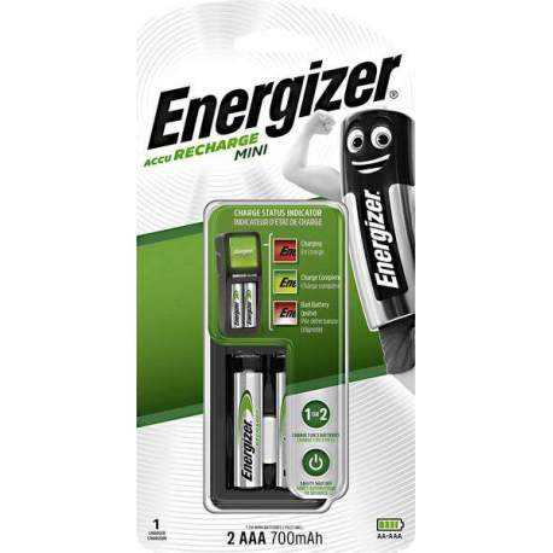 Energizer Chargeur Mini avec 2 piles AAA 700mAh