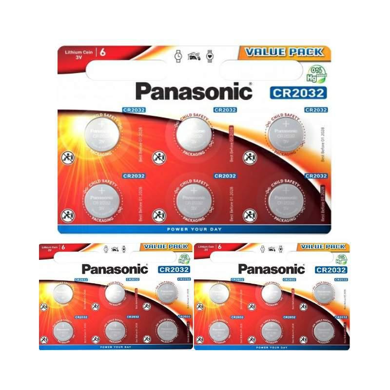18 Piles CR2032 Panasonic Bouton Lithium 3V
