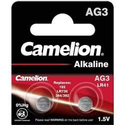2 Piles LR41 / AG3 / 392 / 192 Camelion Alcaline 1,5V