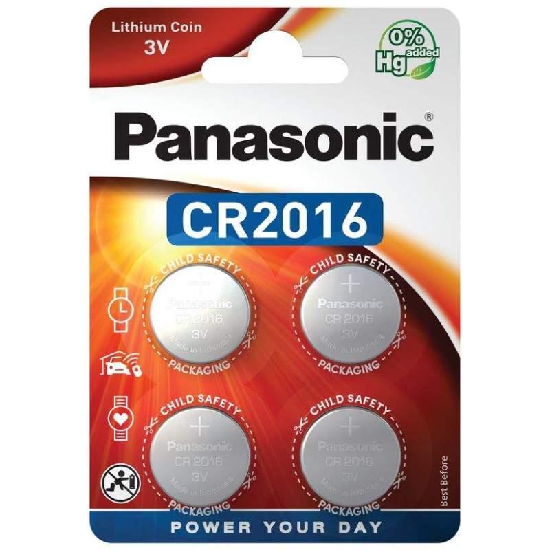 4 Piles CR2016 Panasonic Bouton Lithium 3V