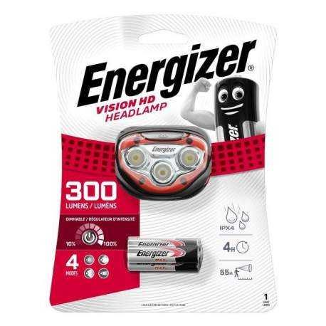 Frontale Energizer Vision HD Headlight 300lm avec 3 piles AAA