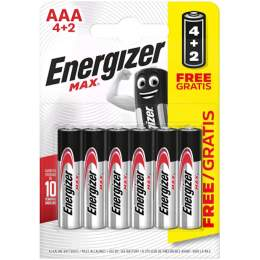 4+2 Piles Alcalines AAA / LR03 Energizer Max