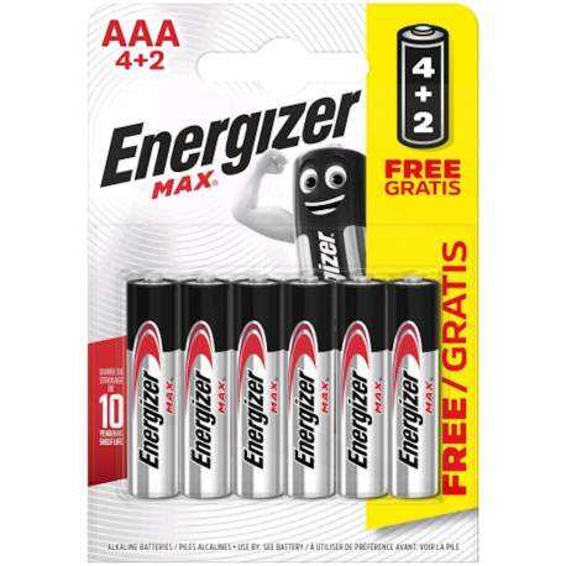 Energizer Alcaline Max AAA / LR03 par 4+2 gratuites