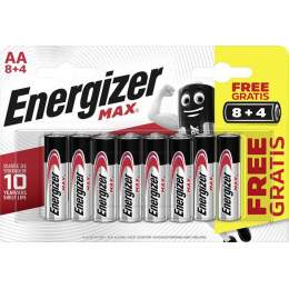 8+4 Piles Alcalines AA / LR6 Energizer Max