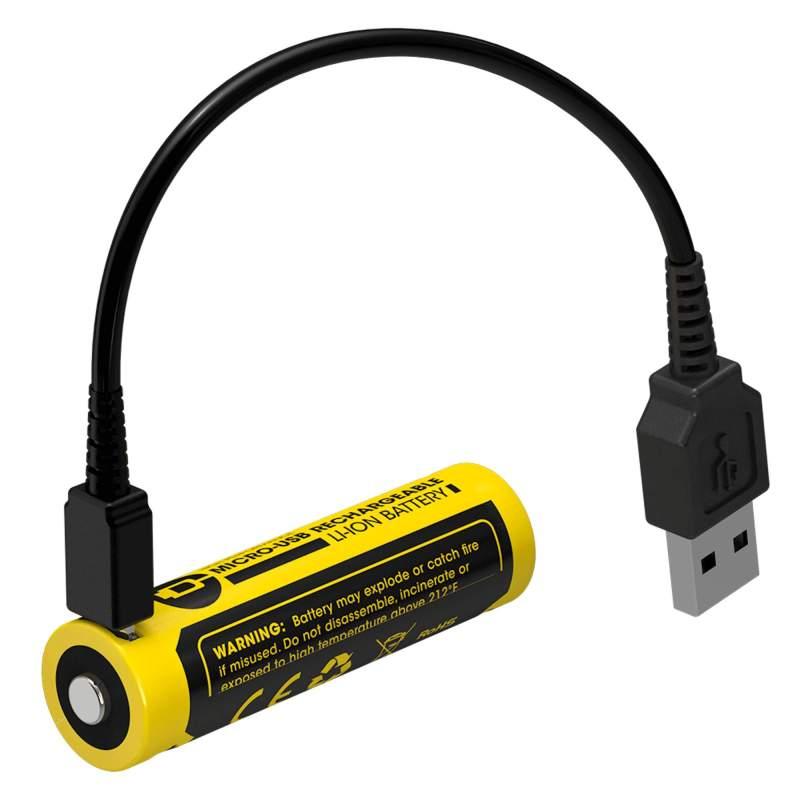 Pile Rechargeable via USB 14500 NiteCore NL1475R 3,6V 750mAh (Cable non fourni)