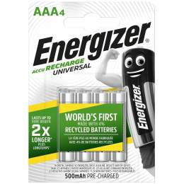 4 Piles Rechargeables AAA / HR03 500mAh Energizer Universal
