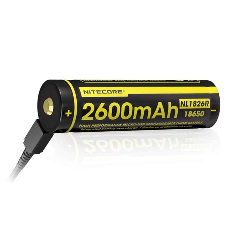 Pile Rechargeable via USB 18650 NiteCore NL1826R 3,6V 2600mAh (Cable non fourni)