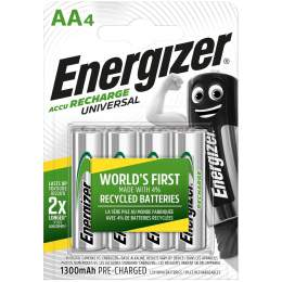 4 Piles Rechargeables AA / HR6 1300mAh Energizer Universal