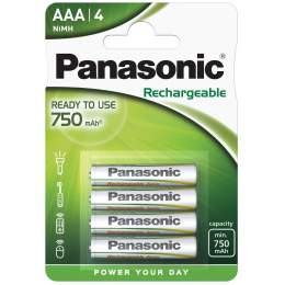 4 Piles Rechargeables AAA / HR03 750mAh Panasonic
