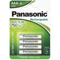 4 Piles Rechargeables AAA / HR03 750mAh Panasonic