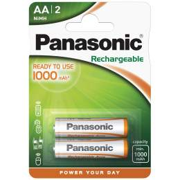 2 Piles Rechargeables AA / HR6 1000mAh Panasonic for DECT