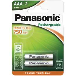 2 Piles Rechargeables AAA / HR03 750mAh Panasonic for DECT