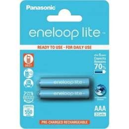 2 Piles Rechargeables AAA / HR03 550mAh Panasonic Eneloop Lite BK-4LCCE