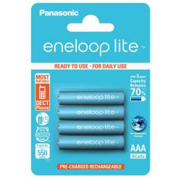 4 Piles Rechargeables AAA / HR03 550mAh Panasonic Eneloop Lite BK-4LCCE