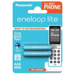 2 Piles Rechargeables AAA / HR03 550mAh Panasonic Eneloop Lite for DECT BK-4LCCE