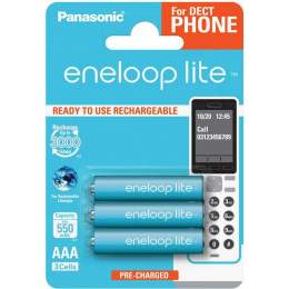 3 Piles Rechargeables AAA / HR03 550mAh Panasonic Eneloop Lite for DECT BK-4LCCE