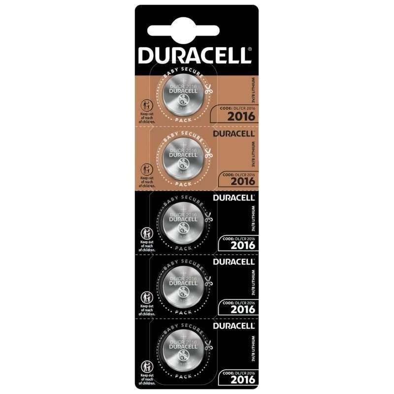 Duracell Lithium 3V CR2016 par 5
