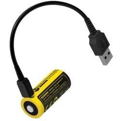 Pile Rechargeable via USB 16340 NiteCore NL1665R 3,6V 650mAh (Cable non fourni)
