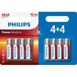 4+4 Piles Alcalines AA / LR6 Philips Power Alkaline