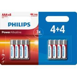4+4 Piles Alcalines AAA / LR03 Philips Power Alkaline