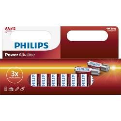 12 Piles Alcalines AA / LR6 Philips Power Alkaline
