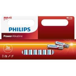 12 Piles Alcalines AAA / LR03 Philips Power Alkaline