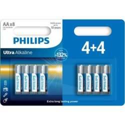 4+4 Piles Alcalines AA / LR6 Philips Ultra Alkaline