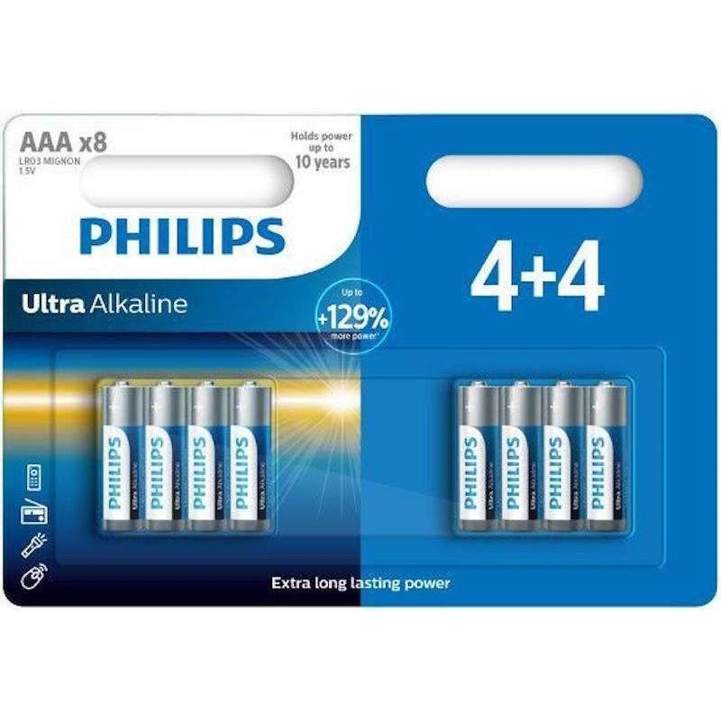 4+4 Piles Alcalines AAA / LR03 Philips Ultra Alkaline