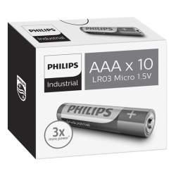 10 Piles Alcalines AAA / LR03 Philips Industrial