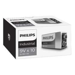 10 Piles Alcalines 9V / 6LR61 Philips Industrial