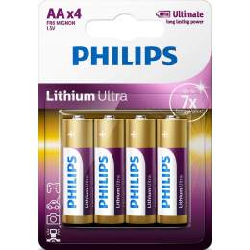 4 Piles Lithium AA / FR6 Philips Lithium Ultra