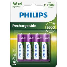 4 Piles Rechargeables AA / HR6 2600mAh Philips