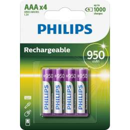 4 Piles Rechargeables AAA / HR03 950mAh Philips