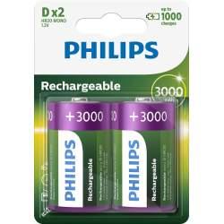 2 Piles Rechargeables D / HR20 3000mAh Philips