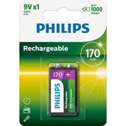 Pile Rechargeable 9V / 6HR61 170mAh Philips