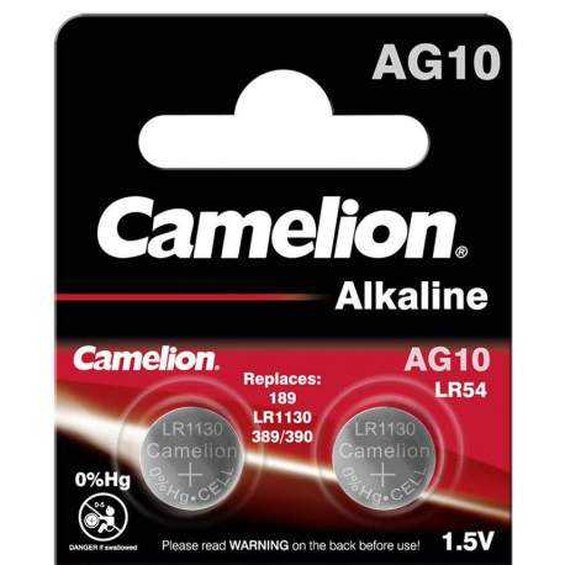 2 Piles AG10 / LR54 / LR1130 / 189 Camelion Alcaline 1,5V