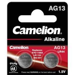 2 Piles AG13 / LR44 / LR1154 / 1166A Camelion Alcaline 1,5V