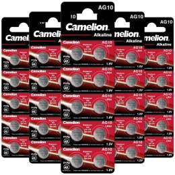 50 Piles AG10 / LR54 / LR1130 / 189 Camelion Alcaline 1,5V