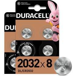 8 Piles CR2032 Duracell Bouton Lithium 3V