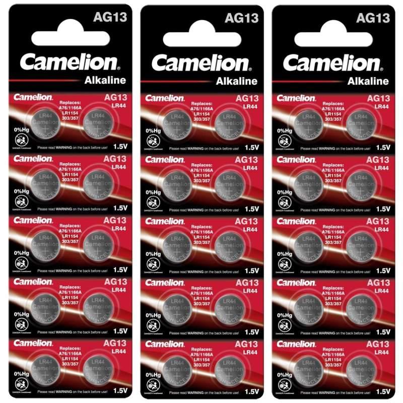30 Piles AG13 / LR44 / LR1154 / 1166A Camelion Alcaline 1,5V