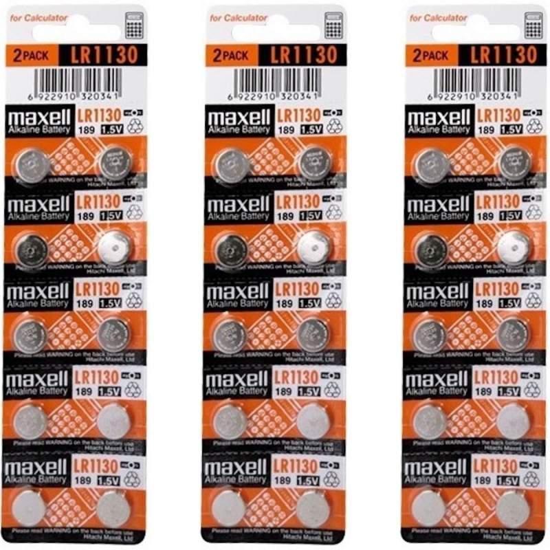 30 Piles LR54 / LR1130 / 189 Maxell Alcaline 1,5V