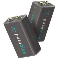 2 Piles Rechargeables USB 9V / 6LR61 450mAh PaleBlue Lithium Ion 9V
