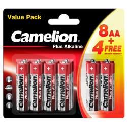 8+4 Piles Alcalines AA / LR6 Camelion Alcaline Plus