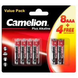 8+4 Piles Alcalines AAA / LR03 Camelion Alcaline Plus
